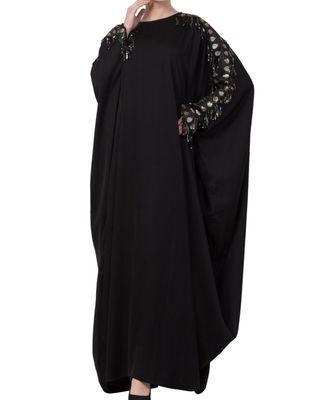 Black nida Fancy kaftan With Lace Work on Sleeves