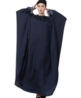 Blue nida Fancy kaftan With Lace Work on Sleeves