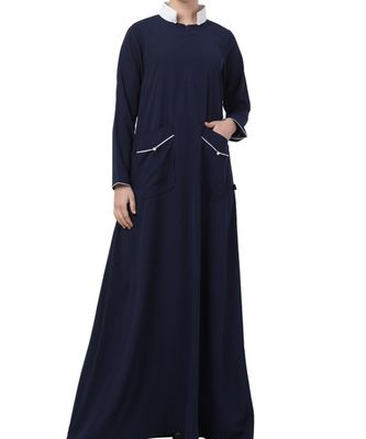 Blue Nida Modest Dress With Contrast Standing Collar And Front Pockets