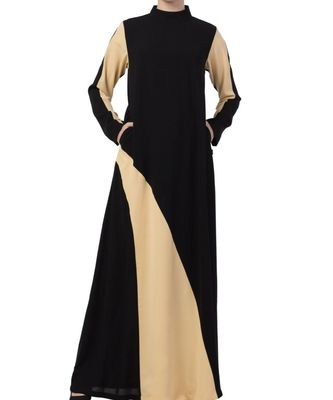Black Nida Modest Dress In Dual Color