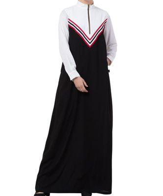 black nida Modest Dress in Multi Color