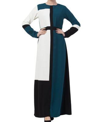 multicolor nida Modest Dress in Multi Color