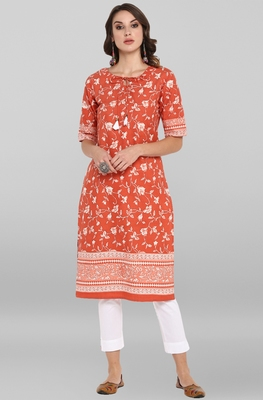 Women's Rust Pure Cotton Kurta With Pant