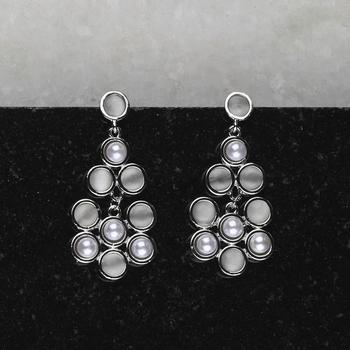 Party Wear Silver Pearl Earring For Women Girl