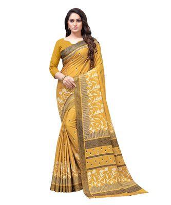 Mustard printed Silk blend saree with blouse