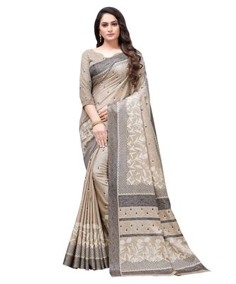 Beige printed Silk blend saree with blouse