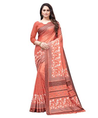 Peach printed Silk blend saree with blouse