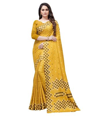 Mustard printed Silk blend saree with blouse