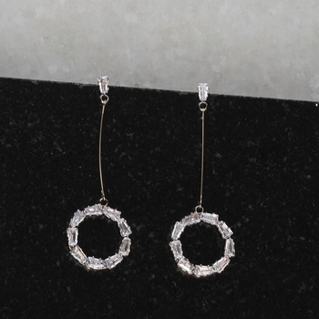 Rose Gold Charm Diamond Dangle Earring For Women Girl