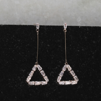 Rose Gold Party Wear Diamond Dangle Earring For Women Girl