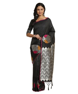 Black printed Silk blend saree with blouse