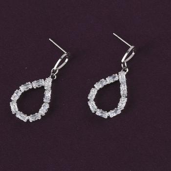Silver Plated Stylish Party Wear Diamond Stud Earring For Women Girl