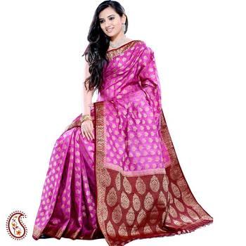 Fuchsia Pink Silk Saree