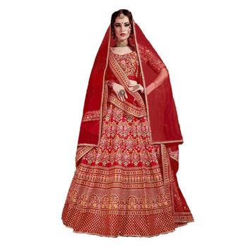 Desi Lady Red  Satin Embrodery  Lehenga Choli