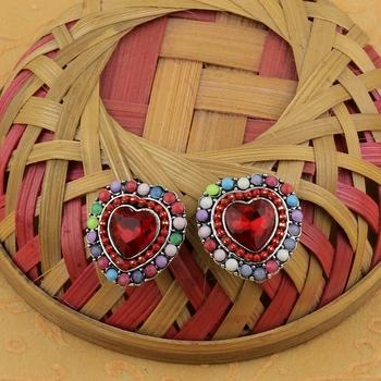 Stylish Heart Shape Diamond Multi Colour Stud Earring For Women Girl