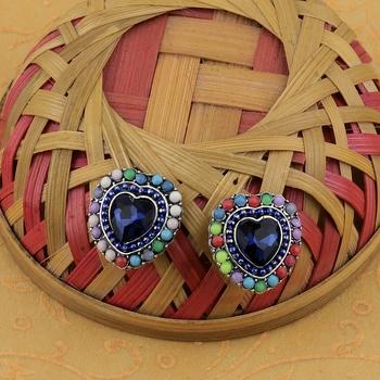 Fashion Party Wear Multi Colour Heart Shape Stud Earring For Women Girl