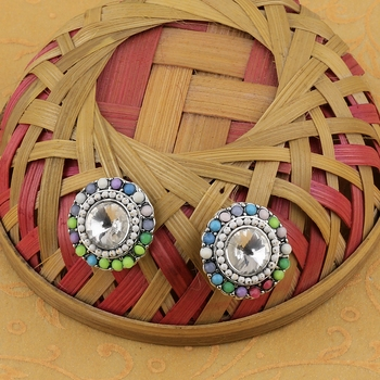 Charm Stylish Party Wear Multi Colour Stud Diamond Earring For Women Girl