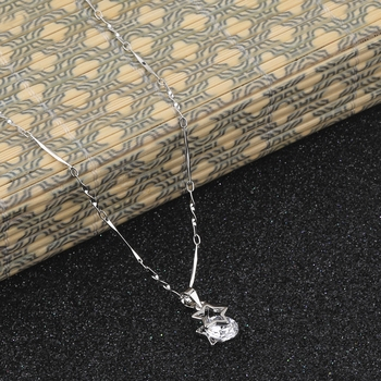 Silver Plated Delicated Chain With Star Shape Solitaire Diamond Pendant For Women