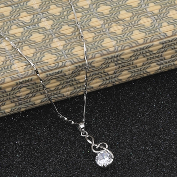 Silver Plated Party Wear Chain With Delicate Solitaire Diamond Pendant For Women
