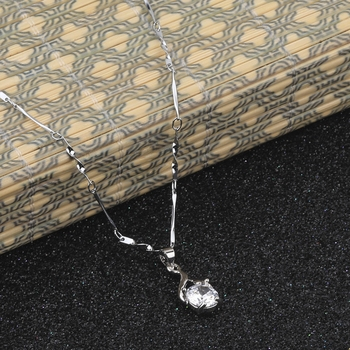 Silver Plated Party Wear Chain With Charm Solitaire Diamond Pendant For Women