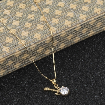 Gold Plated Delicated Chain With Guitar Shape Solitaire Diamond Pendant For Women