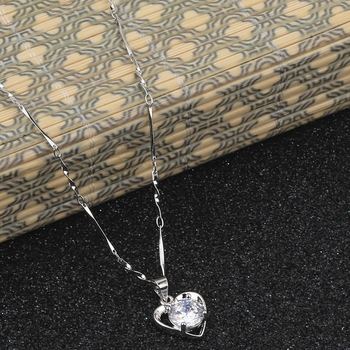 Silver Plated Chain With Big  Heart Shape Solitaire Diamond Pendant For Women