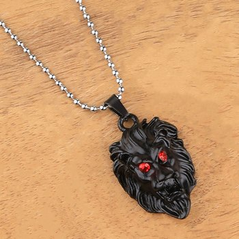 Silver Plated Stylist Chain With Lion Design Black pendant With Diamond For Man Boys
