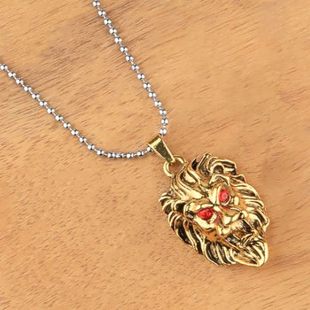 SilverPlated Attractive Chain With Lion Design Golden pendant With Diamond For Man Boy