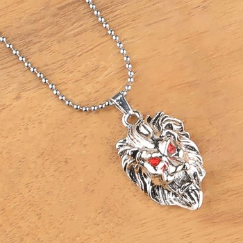 SilverPlated Attractive Chain With Lion Design Silver pendant With Diamond For Man Boy