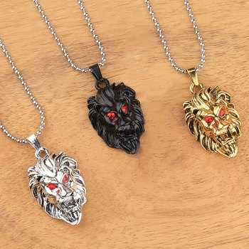 Silver Plated Stylist Chain With Lion Design Combo Chain pendant For Man Boys-3Piece