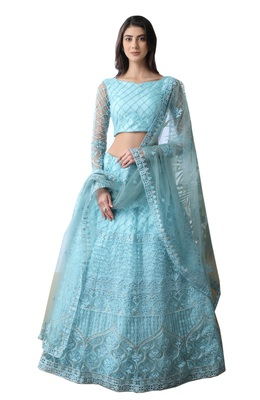 Sky-blue Thread Embroidered with stone pasting net semi stitched lehenga choli with dupatta
