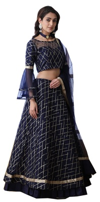 Navy-blue Thread Embroidered with stone pasting net semi stitched lehenga choli with dupatta
