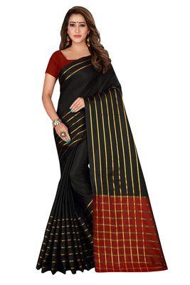 Blissta Black Cotton Silk Woven Saree With Running Blouse