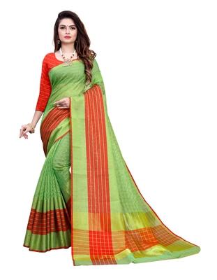 Blissta Green Manipuri Silk Zari Work Saree With Running Blouse