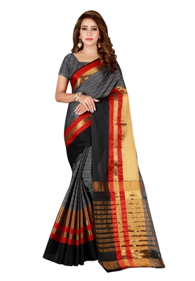 Grey woven blended cotton saree with blouse