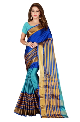Blissta MultiColor Cotton Blend Woven Saree With Running Blouse