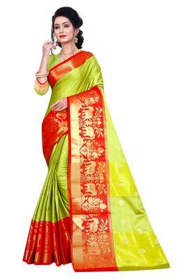 Light green woven cotton silk saree with blouse