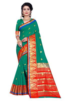 Turquoise woven pure cotton saree with blouse