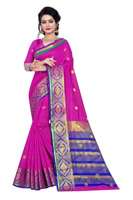 Magenta woven pure cotton saree with blouse