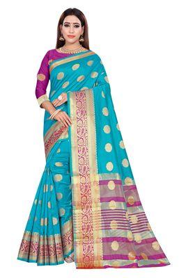 Sky blue woven art silk saree with blouse