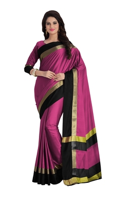 Baby pink woven cotton saree with blouse