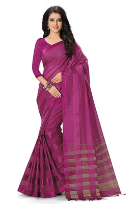 Dark pink woven cotton saree with blouse