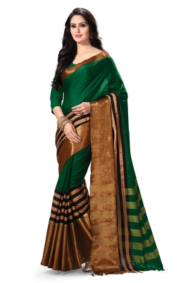 Green woven cotton saree with blouse