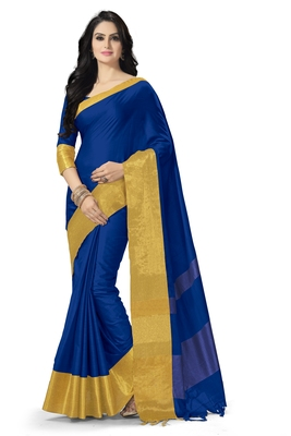 Blue woven cotton saree with blouse