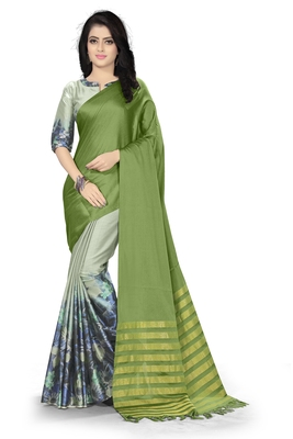 Green printed silk saree with blouse