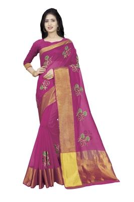 Dark pink plain cotton saree with blouse