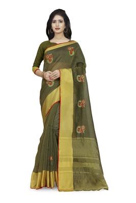 Mehendi plain cotton saree with blouse