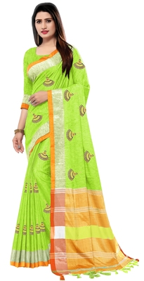 Parrot green embroidered linen saree with blouse