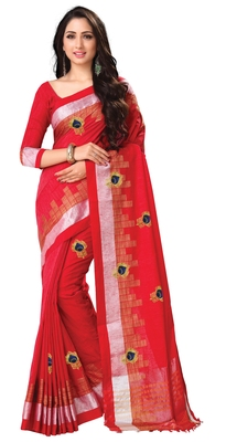 Red embroidered linen saree with blouse