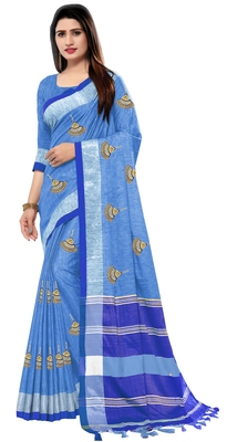 Sky blue embroidered linen saree with blouse